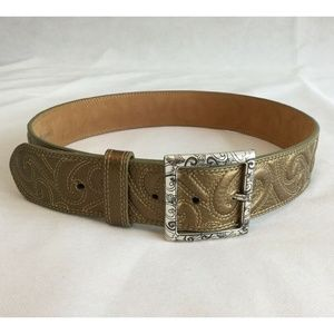 Brighton Leather Belt Size 32 Gold Bronze Silver